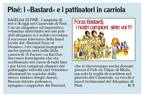 Articolo de L'Adige del 23 febbraio 2009
